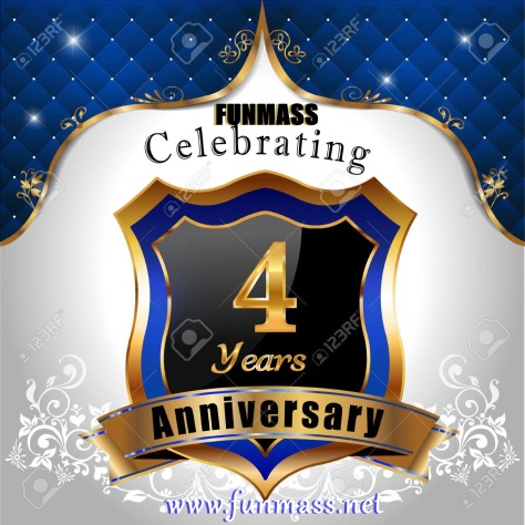 36710688-4-years-anniversary-celebration-golden-sheild-with-blue-royal-emblem-background